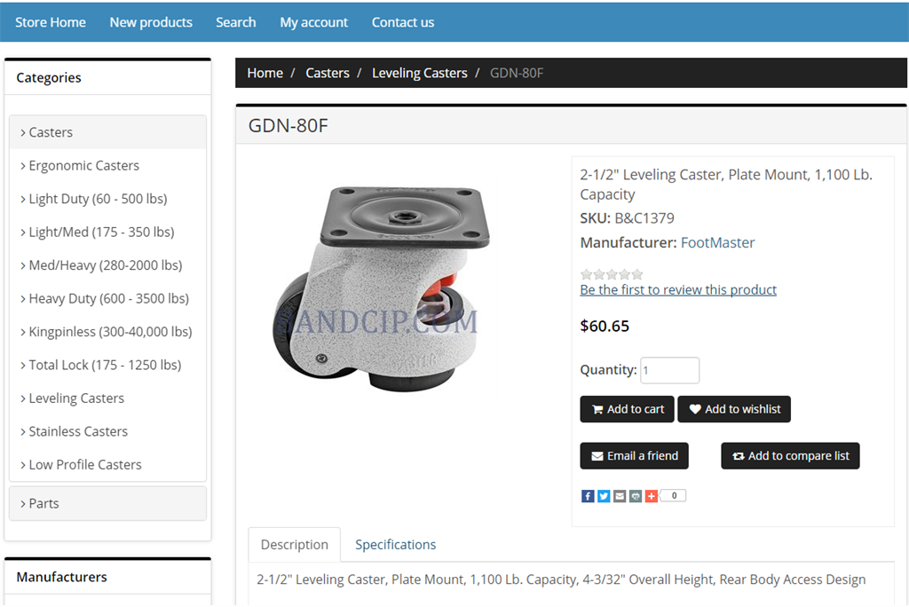 Leveling Casters E-Commerce